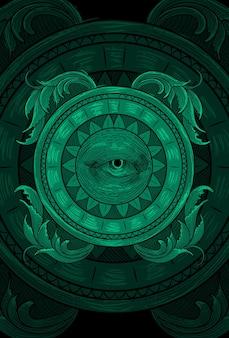 눈과 장식 삽화 삽화