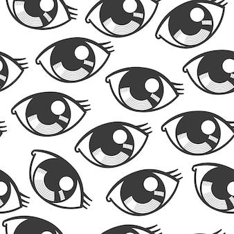 白い背景に目の漫画のシームレス パターン