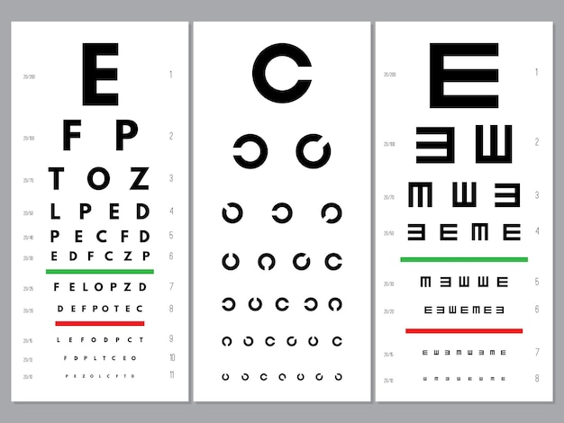 Eyes charts. ophthalmology vision test alphabet and letters optical alphabet letters