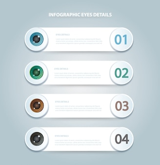 Eyes color infographic template with 4 options