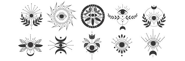 目落書きセット。魔法の魔術の目のお守り、魔法の難解な宗教の神聖幾何学シンボルの手描きテンプレートパターンのコレクション。お守りのお守りや様々な運のお土産のイラスト。