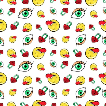 Eyes heart locks and emoticons seamless pattern. fashion background in retro comic style.  illustration