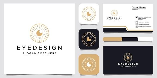 目ロゴデザインテンプレートロゴタイプコンセプトアイデアと名刺