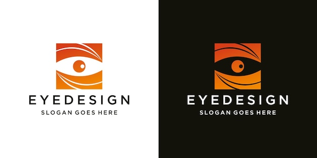 Eyes logo design template logotype concept idea and business card