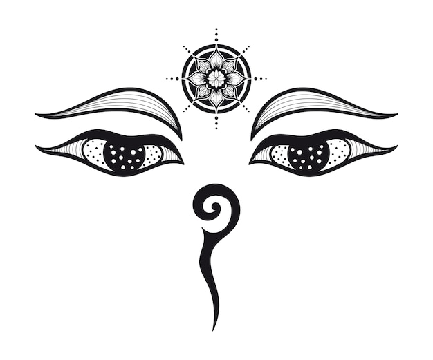 仏の目、仏教の目、シンボルの知恵と悟り。ネパール
