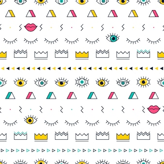 Eyes pattern with lips, crown and geometric shapes in memphis style.