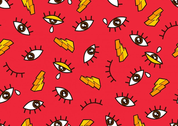 Eyes seamless pattern, minimal geometric background for for fashion clothes and comic style.