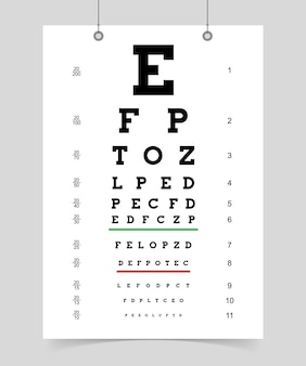 Eyes test chart. poster with letter for ophthalmologist to test eyesight. isolated vector illustration