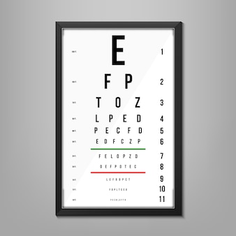 Eyes test charts latin letters, ophthalmic test.