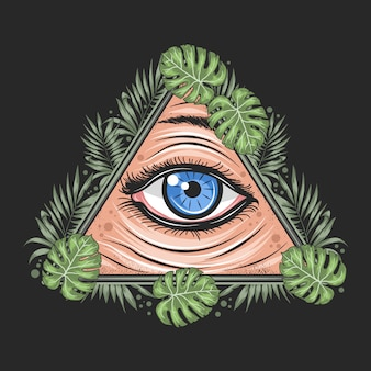 Eyes tropical leaf triangle illuminati freemason god artwork