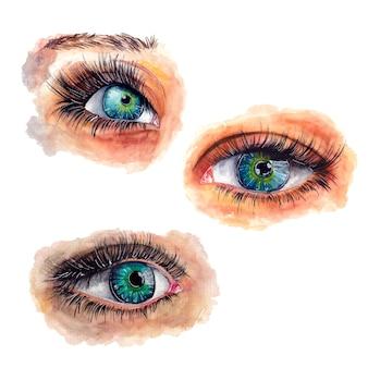 目の水彩画