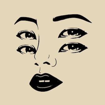 눈 여자 손 그림