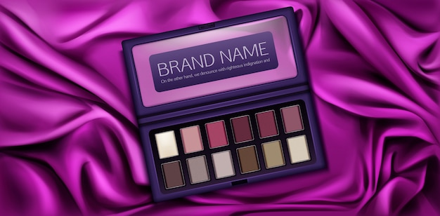 Vinous, pink, brown 및 vanilla 페인트 샘플이 담긴 아이 섀도우 키트 모형 케이스.