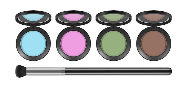 Eyeshadow palette. realistic decorative cosmetics and brush, isolated eye shadows vector set. illustration makeup beauty, powder female palette