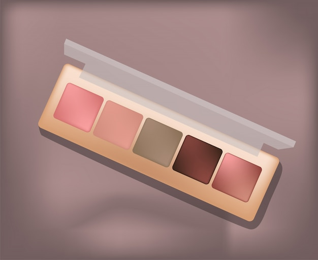 Eyeshadow palette with five different nuances. clear lid