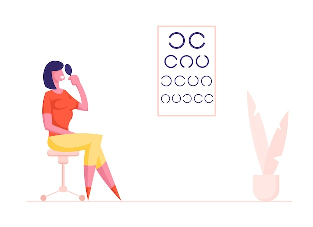 Eyesight check up procedure in clinic