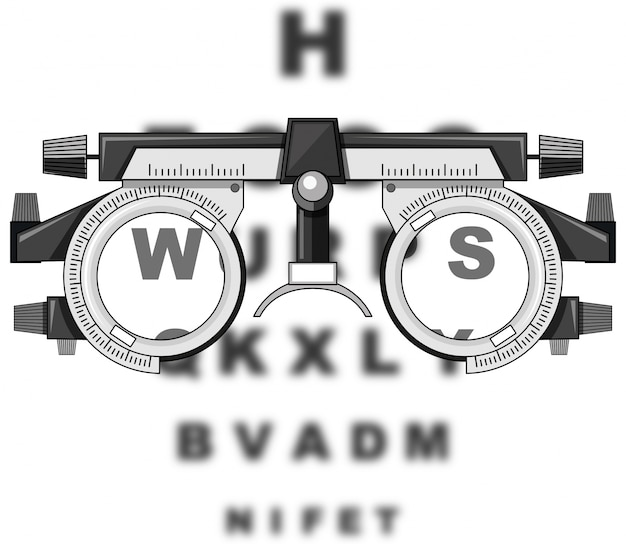 Eyesight test glasses and reading boards