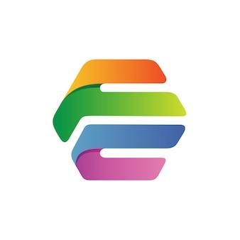 六角形のロゴのベクトルの文字fとc