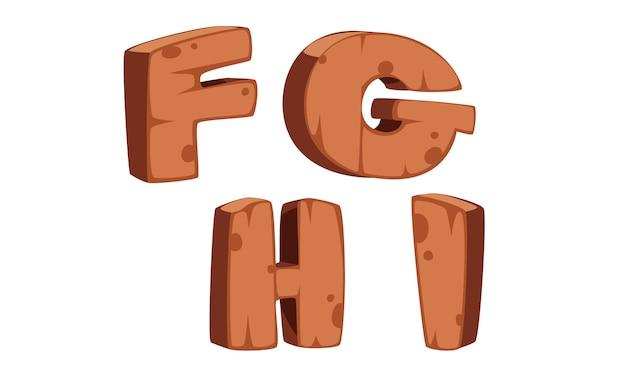 木製アルファベットf、g、h、i