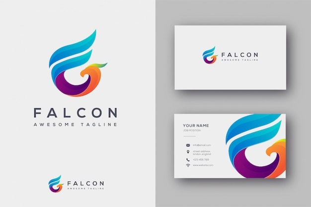 F initial for falcon logo and business card