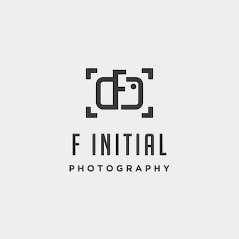F initial photography logo template vector design icon element