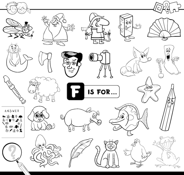 F is for educational game coloring book