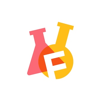 F letter lab laboratory glassware beaker logo vector icon illustration