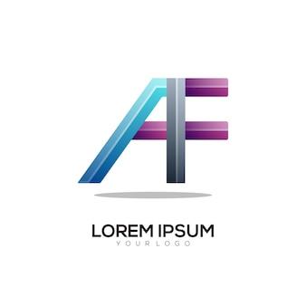 A f letter logo colorful gradient illustration