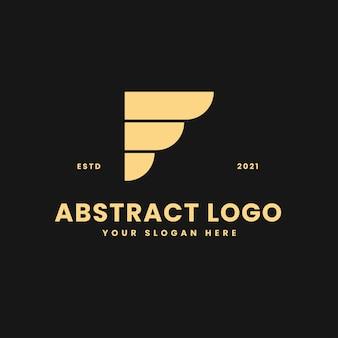 F letter luxurious gold geometric block concept logo vector icon illustration