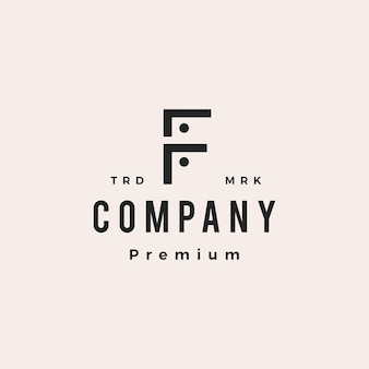 F letter people team family hipster vintage logo vector icon illustration
