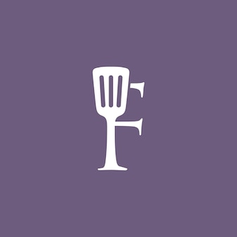 F letter spatula kitchen restaurant chef logo vector icon illustration