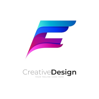 F logo template and abstract design