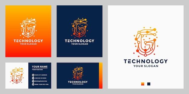 F technology logo design alphabet, letters, initials technology concept