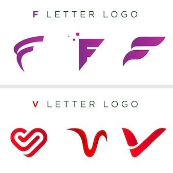 Шаблон письма логотип | f письмо | v письмо | векторный логотип шаблон | уникальный дизайн логотипа
