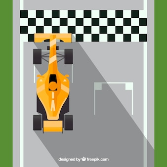 F1 racing car crosses finish line
