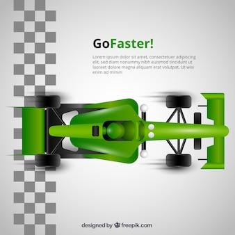Зеленый f1 гоночный автомобиль пересекает финишную линию