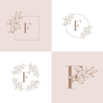 蘭の葉の要素を持つ文字fロゴ