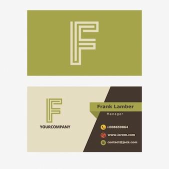 Зеленый ретро визитные карточки с f буквы