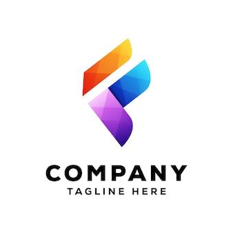 Современная буква f цветной логотип премиум