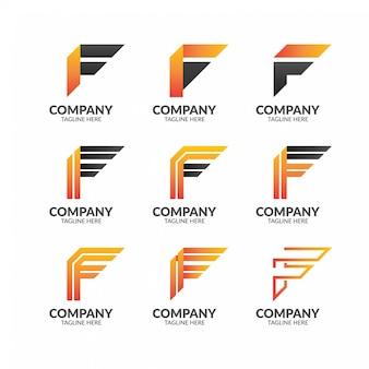 モダンな幾何学的な手紙fロゴコレクション