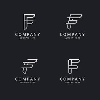 Шаблон логотипа с монограммой инициалов линии f в стиле серебристого цвета для компании