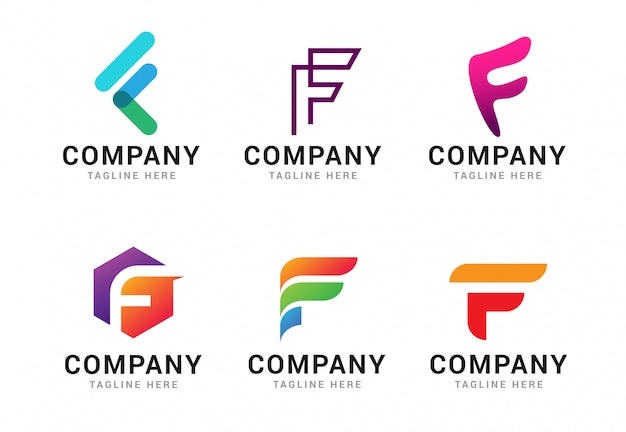 文字fロゴアイコンテンプレート要素のセット