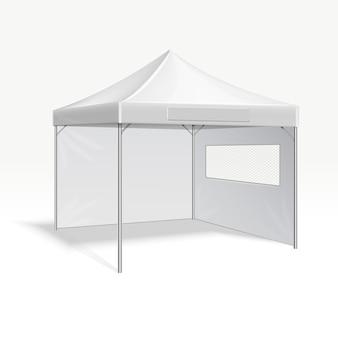 屋外イベントのためのプロモーション広告折り畳みテントのベクトル図。カバーフレーム保護f