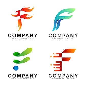 文字fのロゴのテンプレートのセット