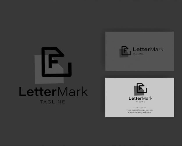 Fの文字ロゴアイコンのデザインテンプレート要素