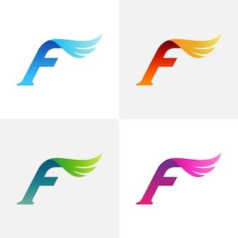 Буква f крыло дизайн логотипа