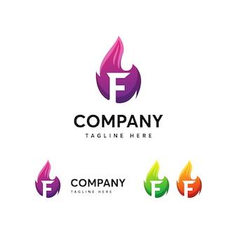 文字fのロゴのテンプレート