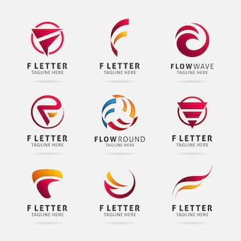 Коллекция дизайна логотипа буква f