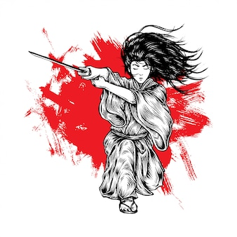 Fabolous long hair samurai attack with his katana
