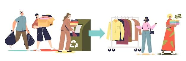 Набор по переработке тканей и текстиля с людьми, жертвующими использованную одежду на переработку и экологически чистую моду. герои мультфильмов бросают одежду в мусорный контейнер. плоские векторные иллюстрации
